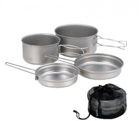 This titanium cookset seeks to provide more compactness with out the loss of capacity. Its low profile design allows a compact solution for stacking two sufficiently sized pots with fry pan lids.