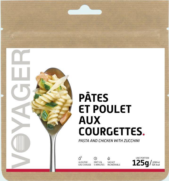 Pâtes et poulet aux courgettes - Voyager