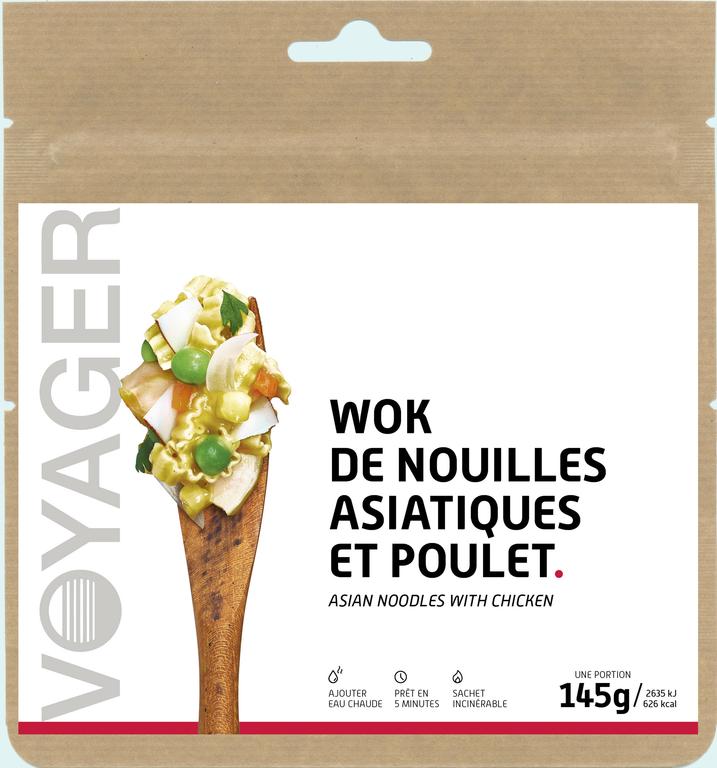 Wok de nouilles asiatiques et poulet - Voyager